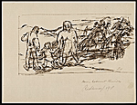 [Sketch of two adults and a child walking in the country ]