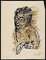 Sketch of man holding a piece of paper