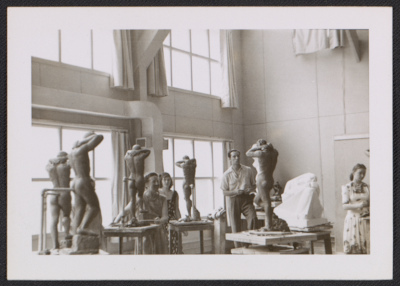 [Katherine Thayer Hobson and other students in Ivan Mestrovic's class at Syracuse University]