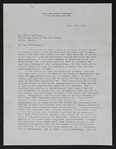 Egerton Swartwout letter to Charles Hoffbauer