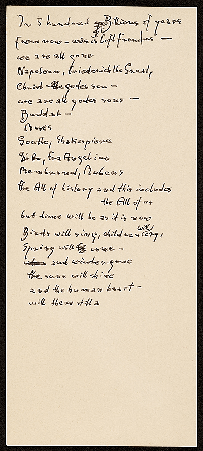[Hans Hofmann poem In 5 hundred billions of years...]