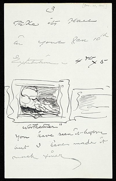 [Winslow Homer to Thomas B. (Thomas Benedict) Clarke]