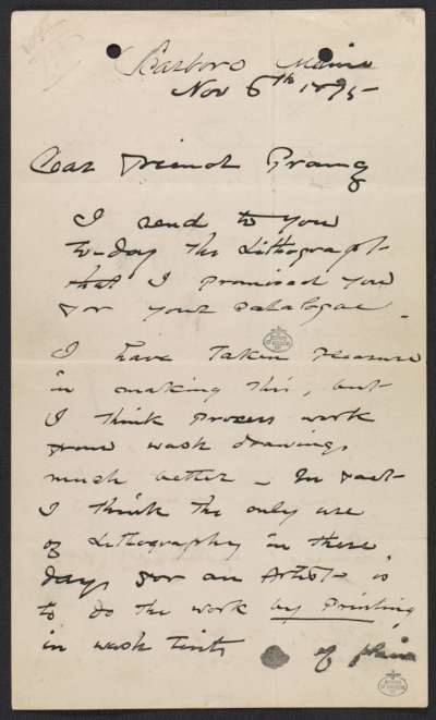 Winslow Homer letter to Louis Prang