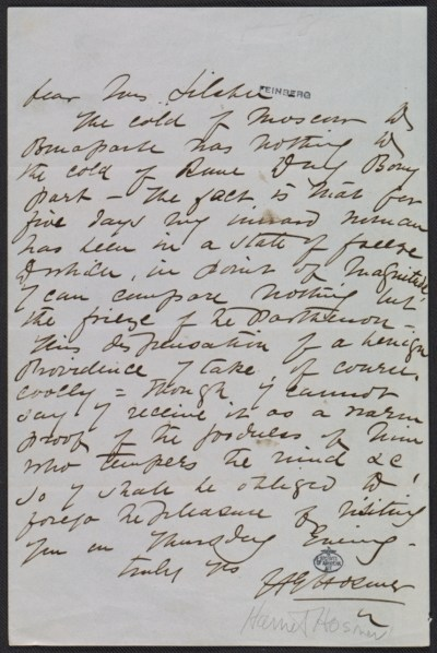 [Harriet Goodhue Hosmer letter to Mrs. Silsbee]