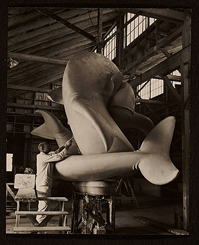 Robert B. Howard finishing full-size model of Whale Fountain