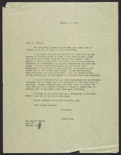 [Howard Wise letter to unidentified recipient, Venice, Italy]