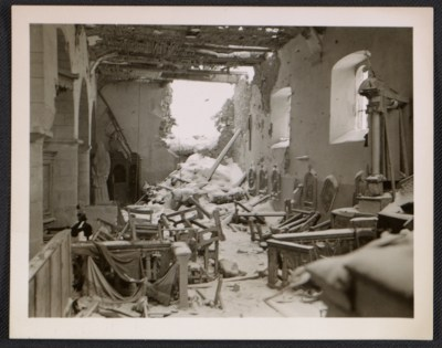 Interior of La Gleize Church in Belgium after the Battle of the Bulge