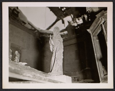 Statue of the Virgin Mary inside La Gleize Church in Belgium, after the Battle of the Bulge