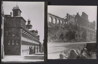 Nuremberg City Hall before and after bombing