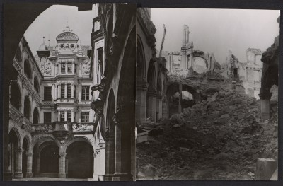 Pellerhaus courtyard before and after bombing
