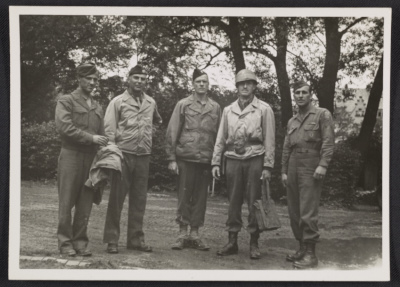 Walker Hancock, Lamont Moore, George Stout and two unidentified soldiers in Marburg, Germany