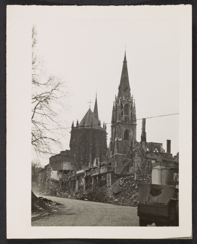 St. Foillan Church after bombing, Aachen, Germany