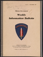 [Military Government Weekly Information Bulletin, no. 15 cover ]