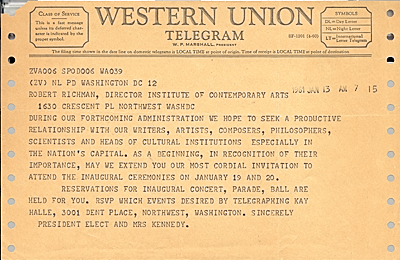 John F. (John Fitzgerald) Kennedy telegram to Robert Richman