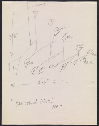 [Alexander Calder design sketch for Varicolored flock]