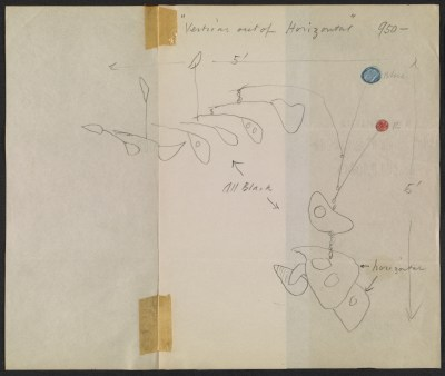 [Alexander Calder design sketch for Vertical out of horizontal]