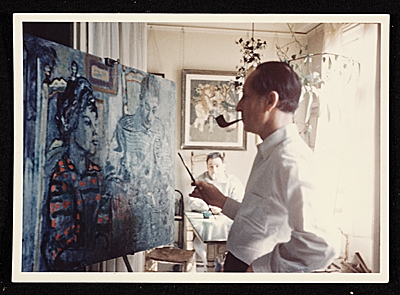 Eric Isenburger painting the portrait of Alice and John Rewald