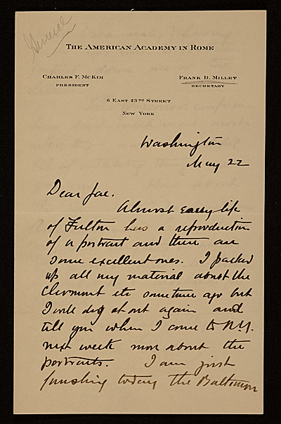 Francis Davis Millet, Washington, D.C. letter to Augusto Floriano Jaccaci