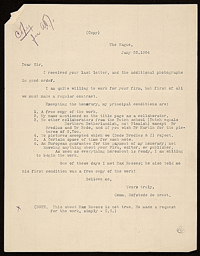 [C. Hofstede de Groot, The Hague, Netherlands letter to unidentified recipient]