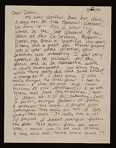 [Mary Jo Bole letter to Daniel Jacobs, New York, N.Y.]