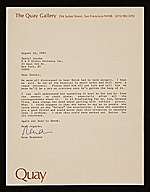 Rena Bransten, San Francisco, Calif. letter to Daniel Jacobs, New York, N.Y.