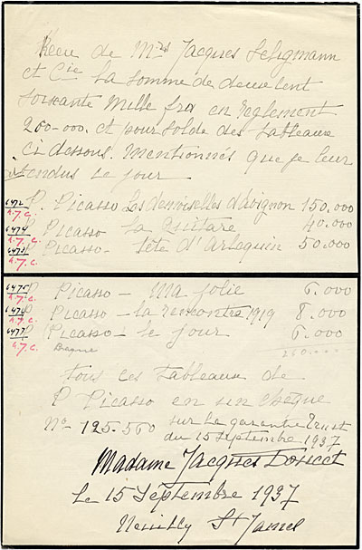 [Handwritten list of Madame Jacques Doucet's collection of artwork by Picasso]