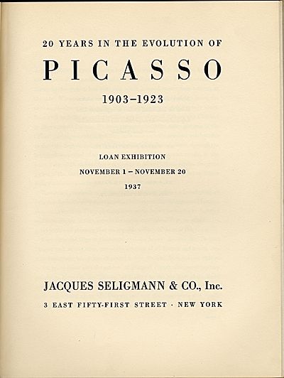 [Exhibition catalog 'Twenty Years in the Evolution of Picasso']