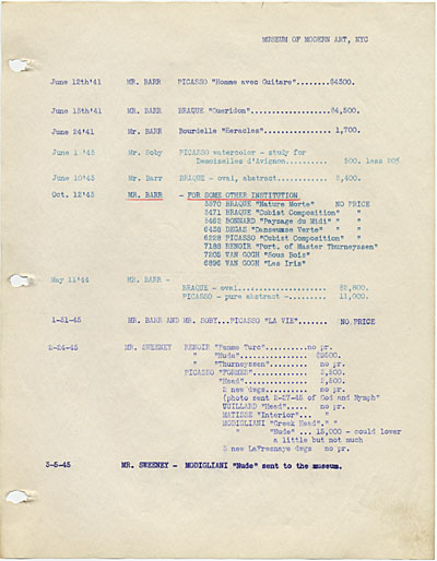 Price quote notebook, between 1941 and 1945, from the Jacques Seligmann and Co. records, Archives of American Art.