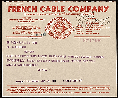 Giorgio De Chirico, Paris, France telegram to Jacques Seligmann, New York, N.Y.