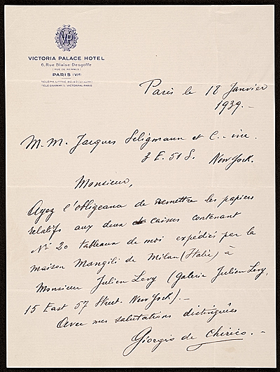 Giorgio De Chirico, Paris, France letter to Jacques Seligmann, New York, N.Y.