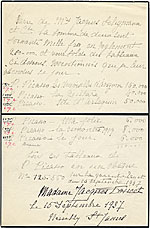 [Handwritten list of Madame Jacques Doucet's collection of artwork by Picasso ]