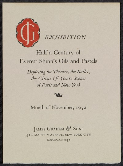 [Catalog for exhibit Half a Century of Everett Shinn's Oils and Pastels]