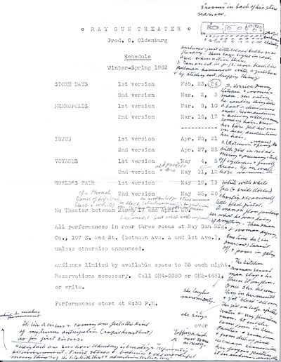 Program for various performances at the the Ray Gun Theater with handwritten notes by Ellen Hulda Johnson