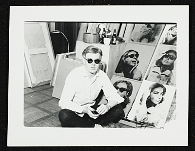[Andy Warhol with multipanel portrait of Ethel Scull]