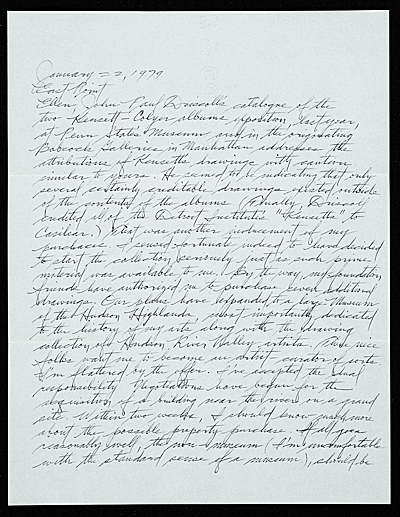 Dan Flavin letter to Ellen H. Johnson