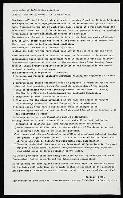 Christo memorandum to Ellen H. Johnson