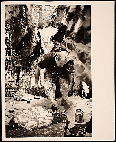 [Claes Oldenburg at work in his studio]