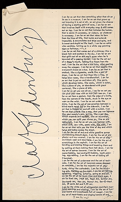 [Claes Oldenburg artist's statement for the Environments, situations, spaces catalog]