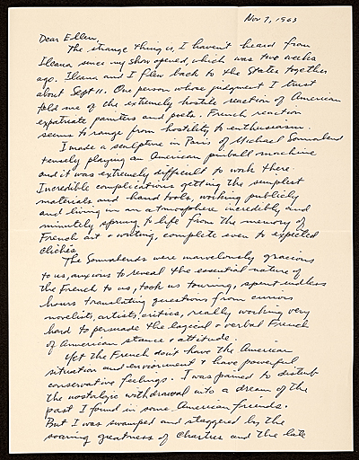 George Segal letter to Ellen H. Johnson