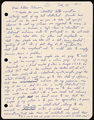 [Peter Saul, Mill Valley, Calif. letter to Ellen H. Johnson]