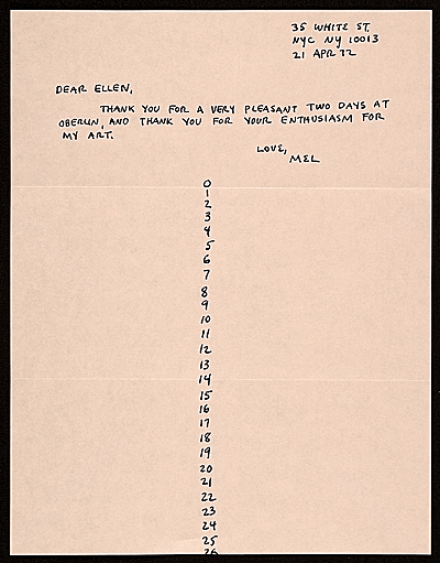 [Mel Bochner, New York, N.Y. letter to Ellen H. Johnson]