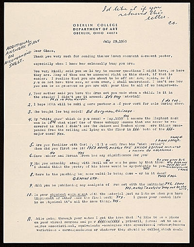 Ellen H. Johnson letter to Claes Oldenburg, with handwritten responses by Oldenburg