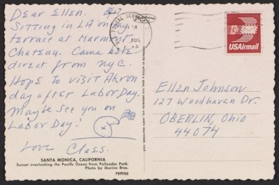 Claes Oldenburg postcard to Ellen H. Johnson