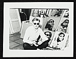 Andy Warhol with multipanel portrait of Ethel Scull