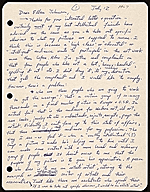 Peter Saul, Mill Valley, Calif. letter to Ellen H. Johnson