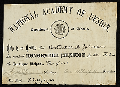 [National Academy of Design Certificate]
