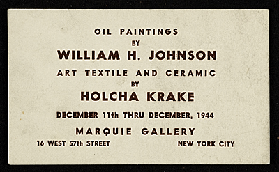 [Announcement for William H. Johnson and Holcha Krake exhibit]