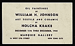 [Announcement for William H. Johnson and Holcha Krake exhibit ]