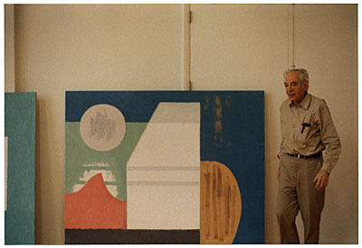 [Jacob Kainen with his painting]