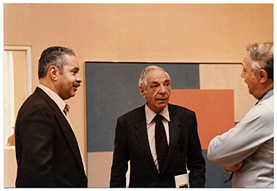 [Jacob Kainen, Harold Hunt and Sid Deutsch at gallery exhibition]